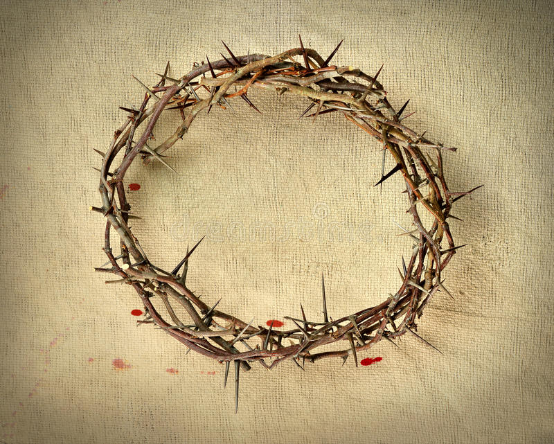 Crown of Thorns over Vintage Cloth stock image