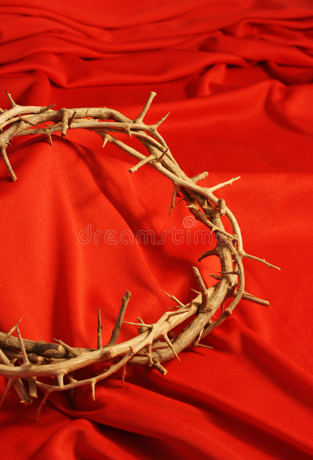 Crown of Thorns with Red Background stock photos