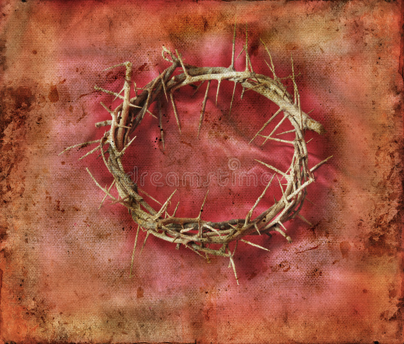Crown of Thorns on Red Grunge Background stock photo