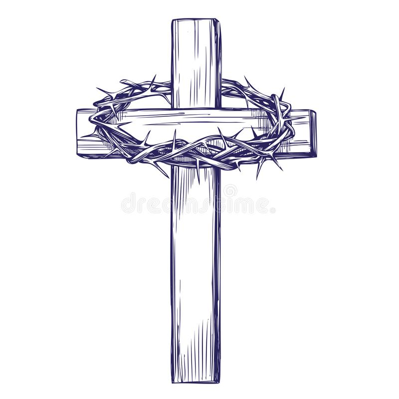 Crown of thorns, wooden cross. Easter . symbol of Christianity hand drawn vector illustration sketch.  stock illustration