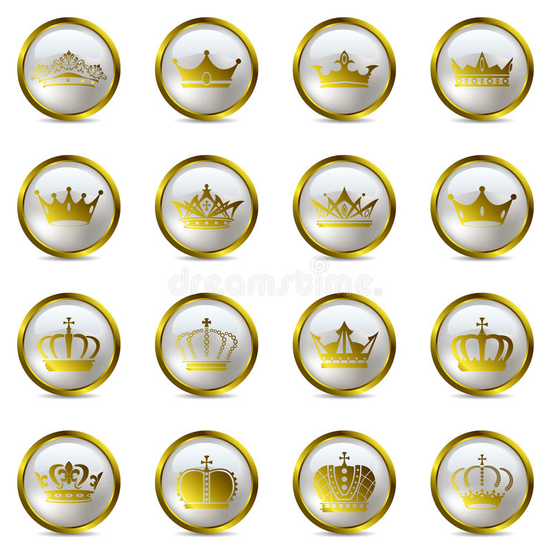 Crown and tiara icons set vector illustration