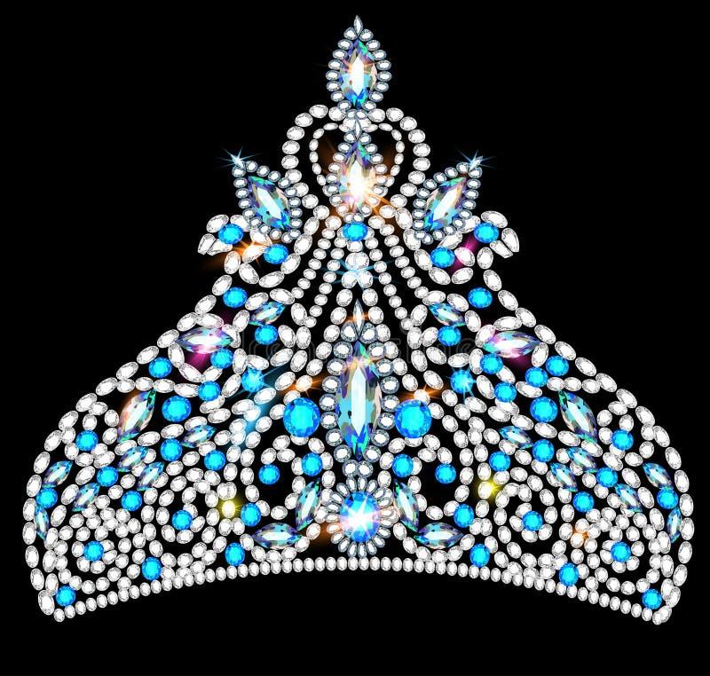 Crown tiara women with blue precious stones stock illustration