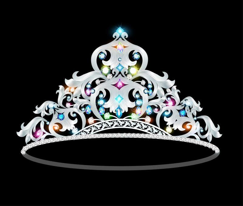 Crown tiara women with glittering precious stones royalty free illustration