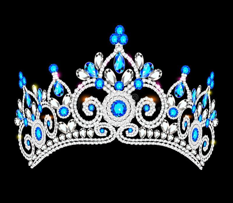 crown tiara women with glittering precious stones stock illustration