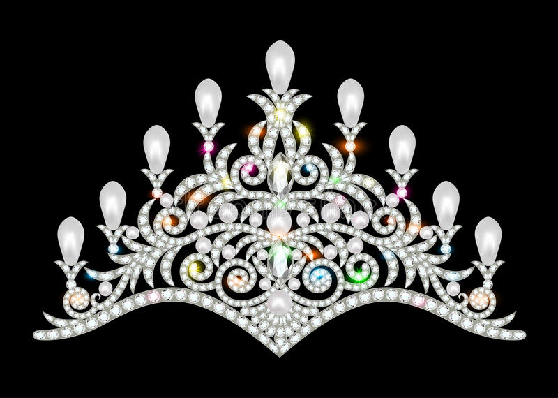 crown tiara women with glittering precious stones vector illustration