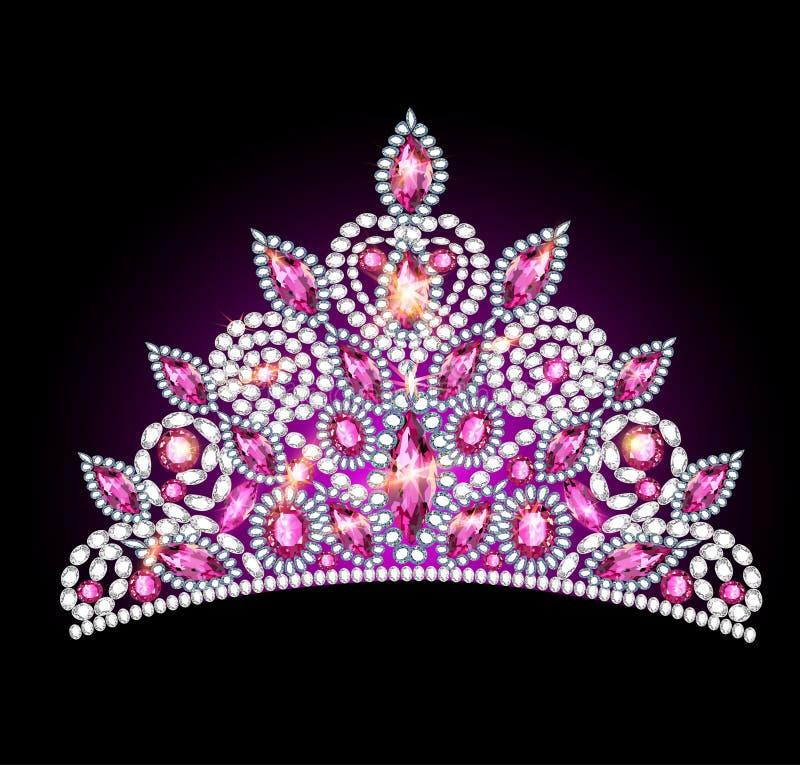 Crown tiara women with pink gemstones royalty free illustration