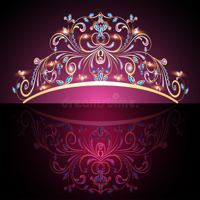Crown tiara womens gold with precious stones vector illustration