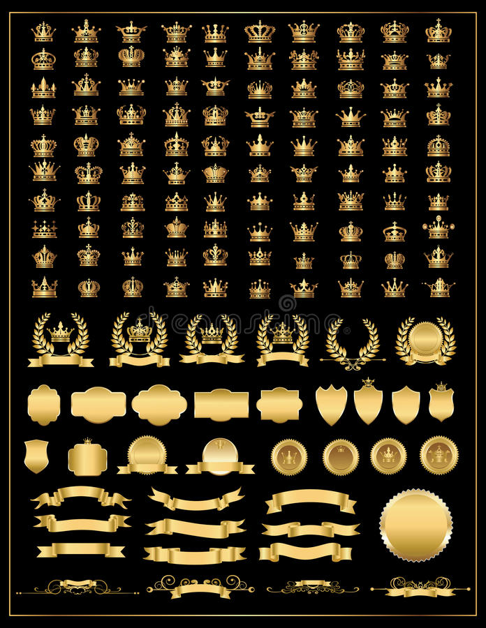 Crown, vector collection, gold stock illustration