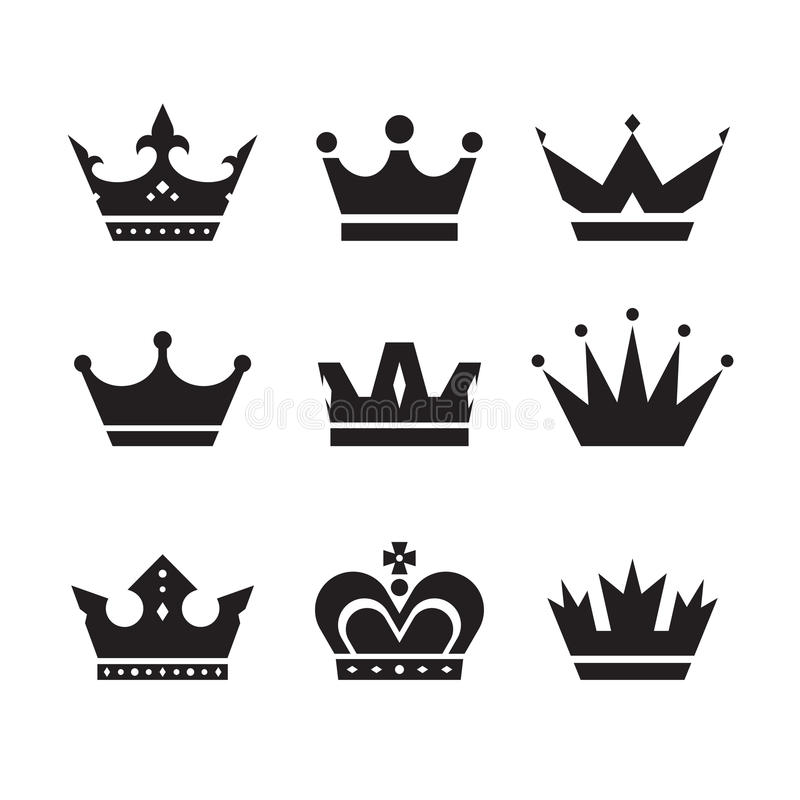 Crown vector icons set. Crowns signs collection. Crowns black silhouettes. Design elements royalty free illustration