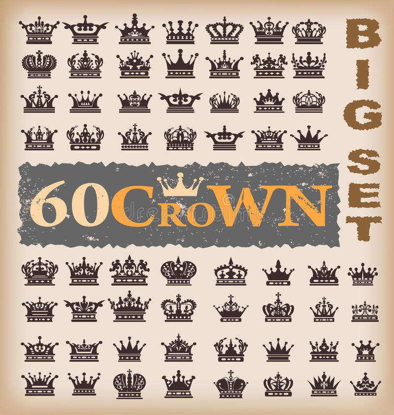Free Crown. Vector Set. Collection Icons Royalty Free Stock Photos - 26265428