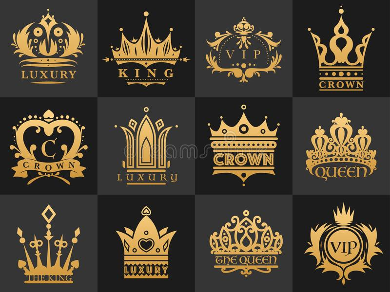 Crown vintage premium golden logo badge heraldic emblem luxury kingdomsign vector illustration. vector illustration