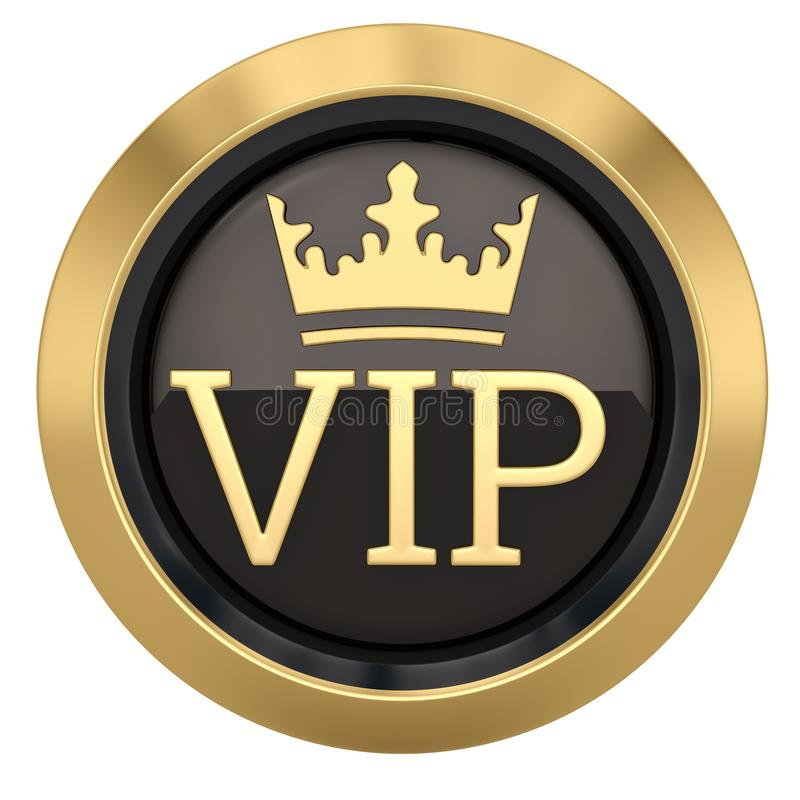 Crown VIP icon isolated on white background 3D illustration.  stock illustration