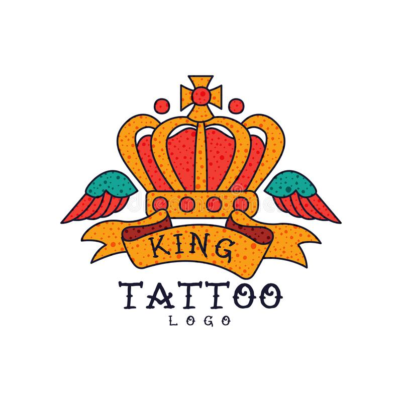 Crown, wings, ribbon and word King, classic American old school tattoo logo design vector Illustration on a white. Crown, wings, ribbon and word King, classic vector illustration