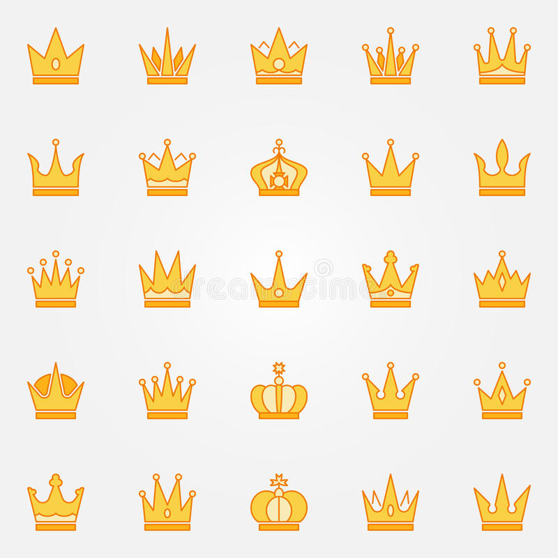 Crown yellow icons royalty free illustration