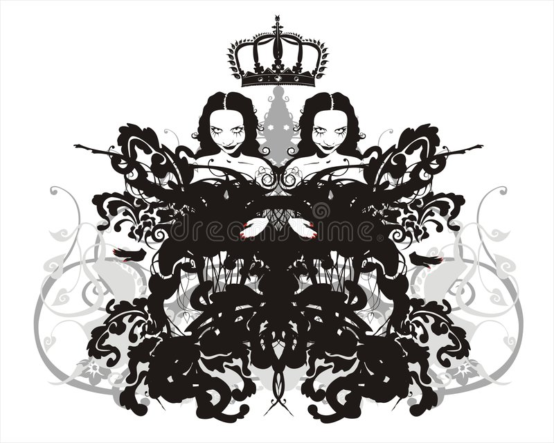 Crowned twins royalty free illustration