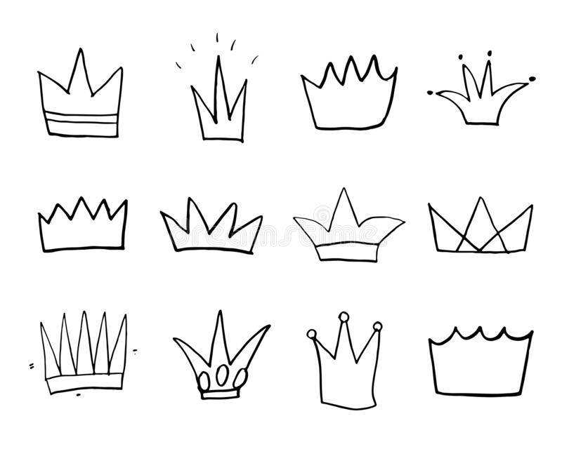 Crowns doodles set, hand-getekende koninklijke schets, Vector Illustratie vector illustratie