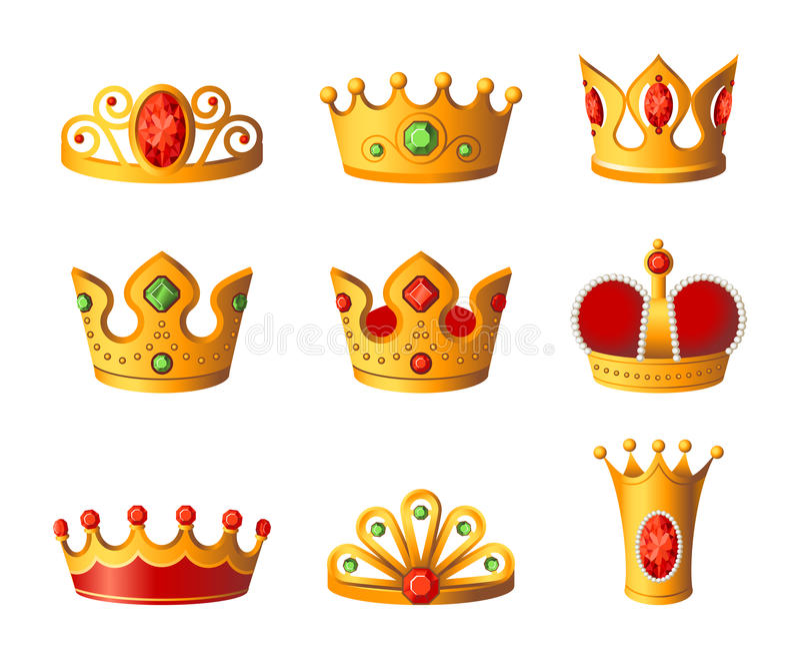 Crowns - realistic vector set of royal headgear royalty free illustration