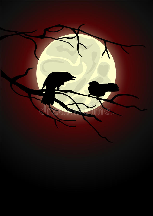 Download Crows stock vector. Image of drawing, bird, moon, animals - 16165350