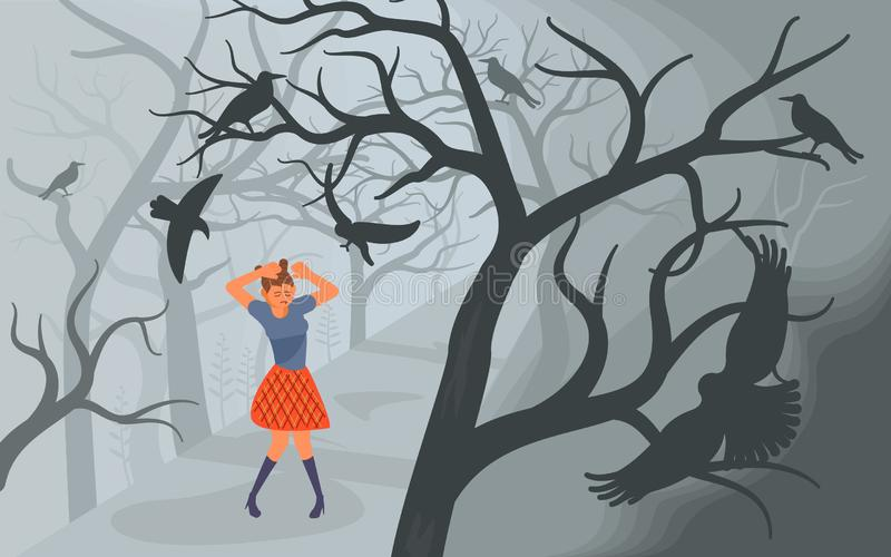 Crows and lonely woman on Scary Halloween background royalty free stock photos