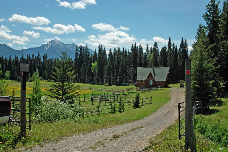 Crows Nest Highway, BC Canada. Ranch beside the Crows Nest Highway, Highway #3, between Sparwood and the Crows Nest Pass, BC, Canada. The Kootenay Rockies are stock photography