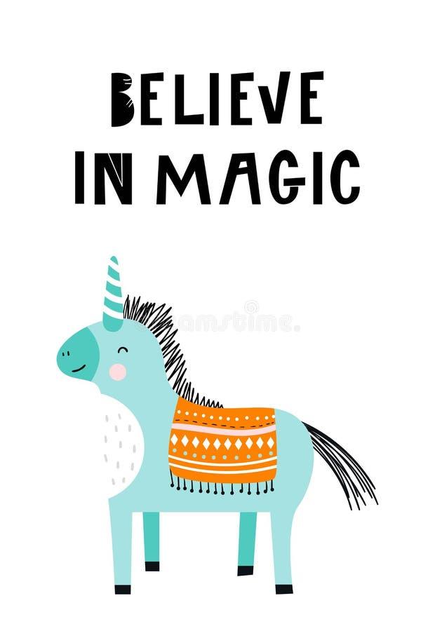 Croyez à la magie - affiche tirée par la main unique de crèche avec la licorne magique et lettrage tiré par la main dans le style illustration de vecteur