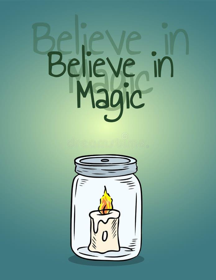 Croyez en bougie magique dans l'affiche de pot Lumière de bougie à l'intérieur de la bouteille illustration libre de droits
