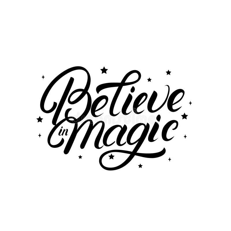 Croyez en citation de lettrage écrite par main magique avec des étoiles illustration de vecteur