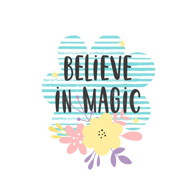 Croyez en enfants magiques citent illustration stock