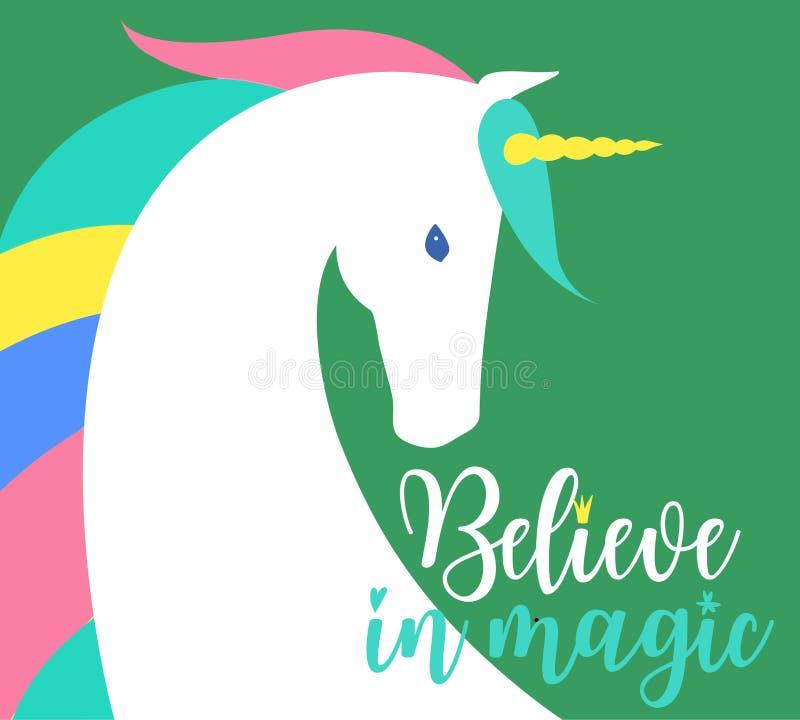 Croyez en illustration magique d'imagination La silhouette, le nuage et l'inspiration colorés de licorne, encourager, motivation  illustration stock