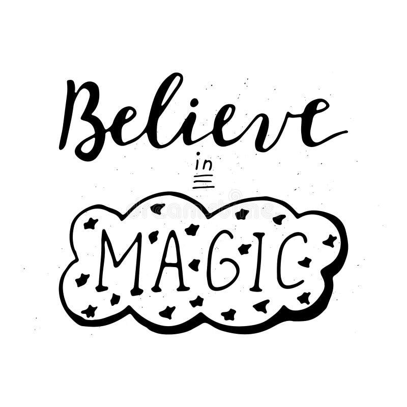 Croyez en lettrage magique illustration de vecteur