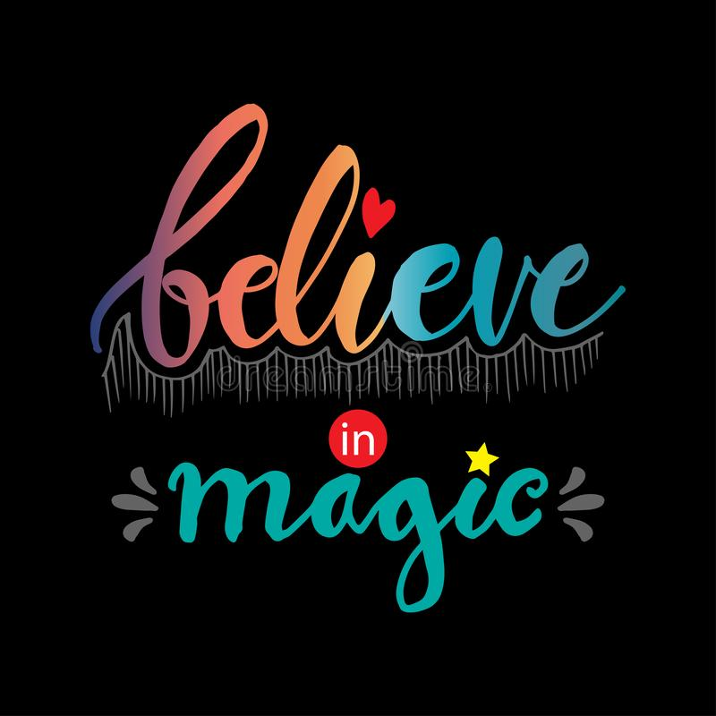Croyez en lettrage magique de main illustration de vecteur