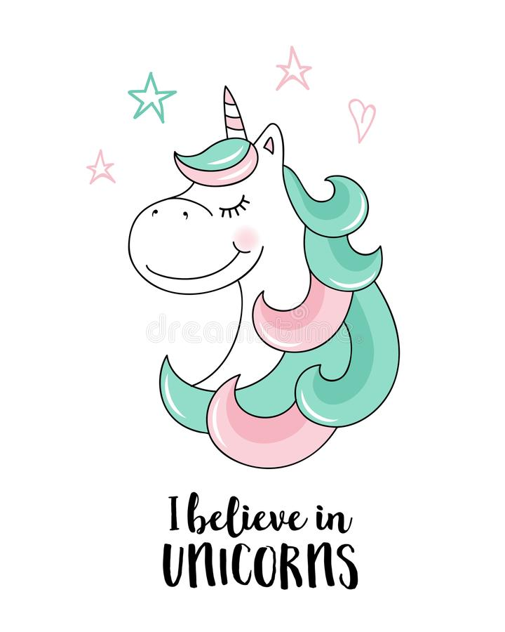Croyez en licornes Illustration de citation de licorne de vecteur illustration de vecteur