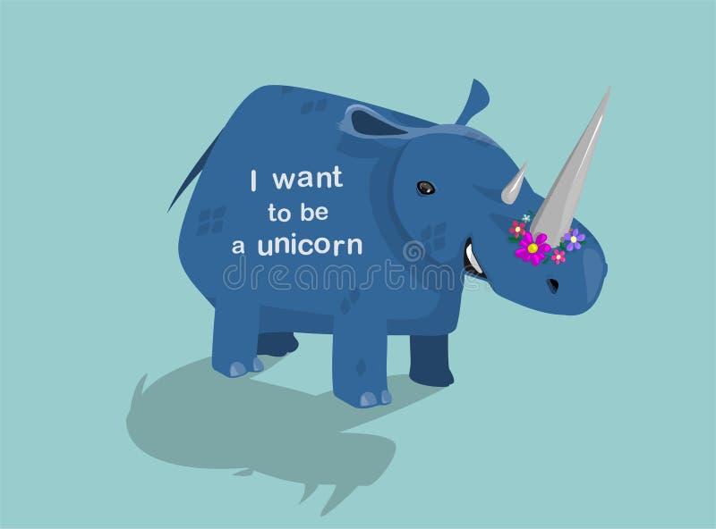 Croyez en licornes Le rhinocéros veut être une licorne illustration stock