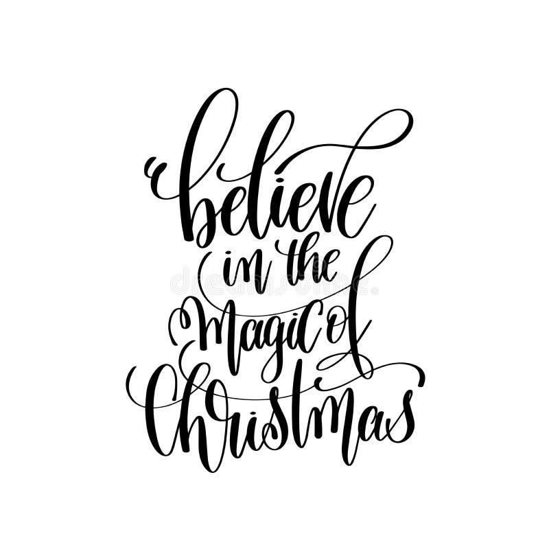 Croyez en magie de l'inscription de lettrage de main de Noël illustration stock