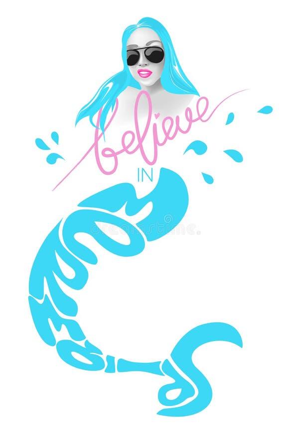 Croyez en sirène Silhouette de sirène et de lettres illustration libre de droits