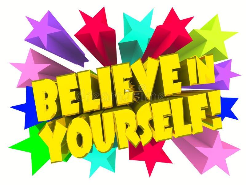 Croyez en vous-même le slogan Texte d'or avec les étoiles vives illustration de vecteur