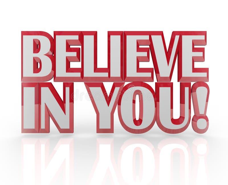 Croyez en vous vous-même les mots de la confiance en soi 3D illustration libre de droits