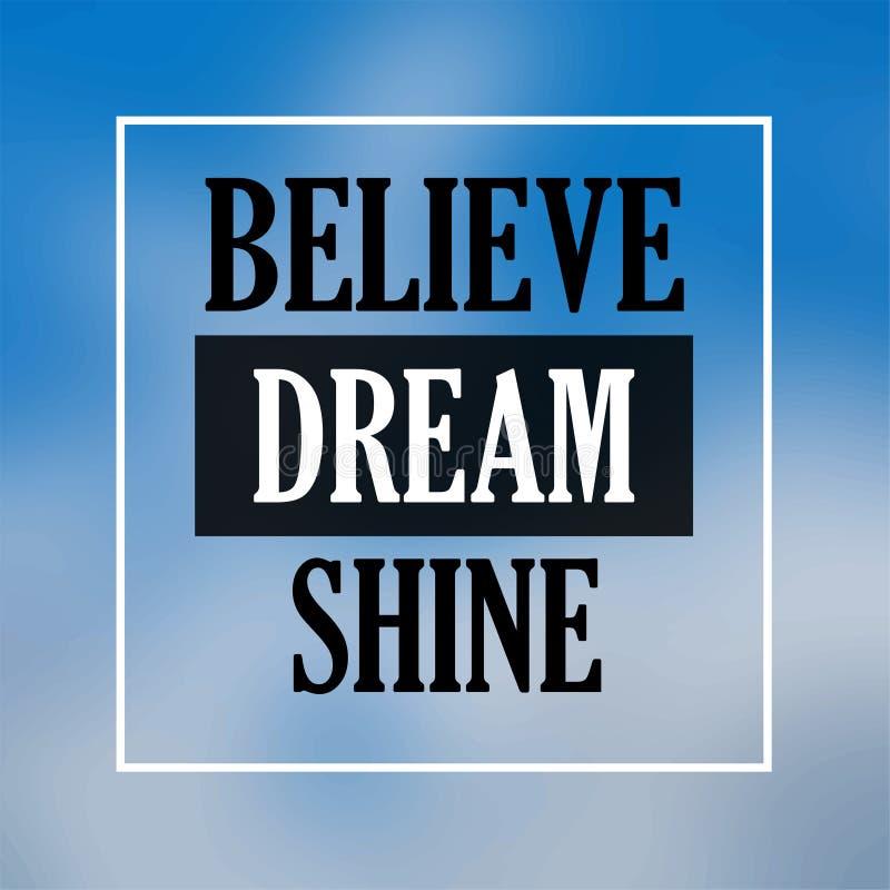 Croyez l'éclat rêveur Citation d'inspiration et de motivation illustration de vecteur