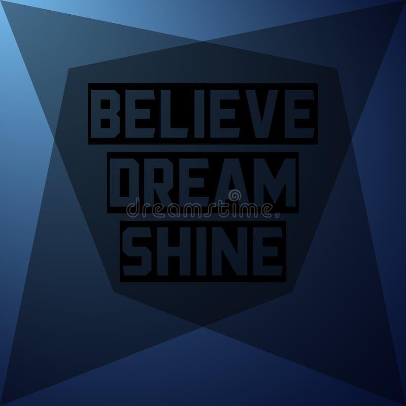 Croyez l'éclat rêveur Citation d'inspiration et de motivation illustration stock