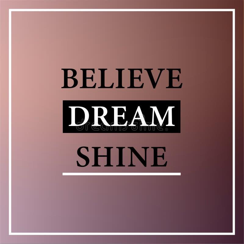 Croyez l'éclat rêveur Citation inspirée et de motivation illustration de vecteur