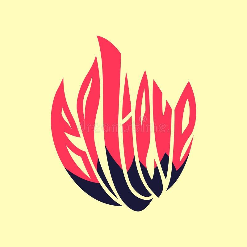 croyez Photo de mot de typographie comme image de fleur Remettez l'illustration en lettres de typographie, le texte d'enveloppe à illustration stock