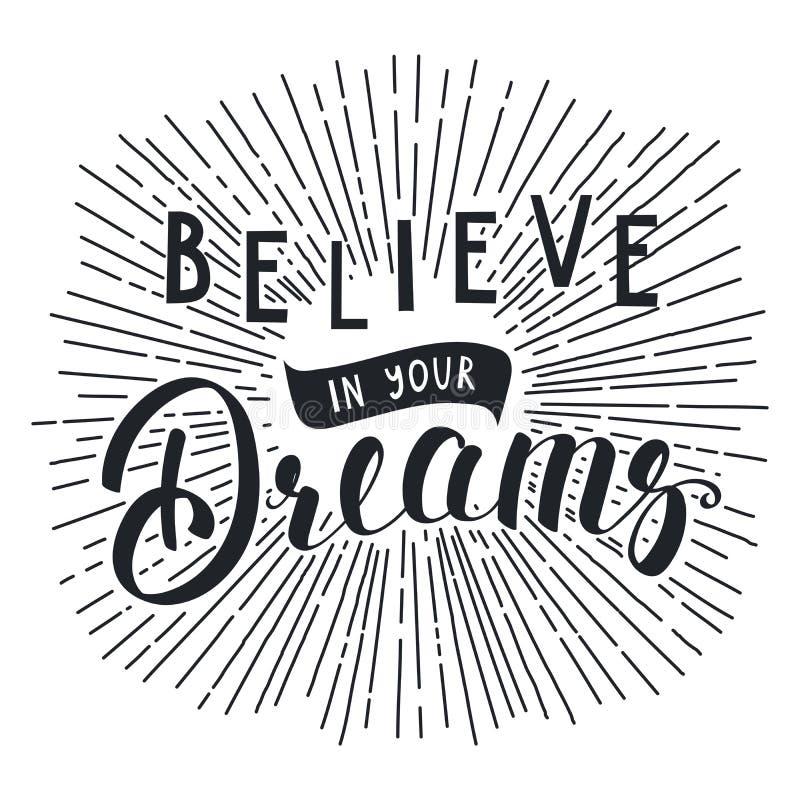 Croyez votre inscription de rêves illustration stock