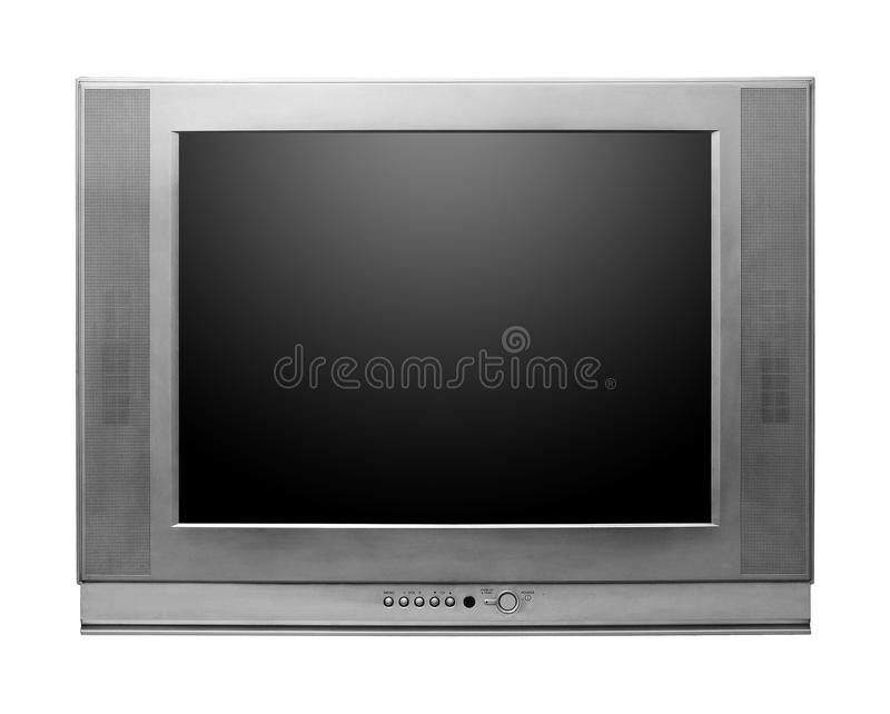 CRT TV con los caminos de recortes de la pantalla incluidos imagenes de archivo