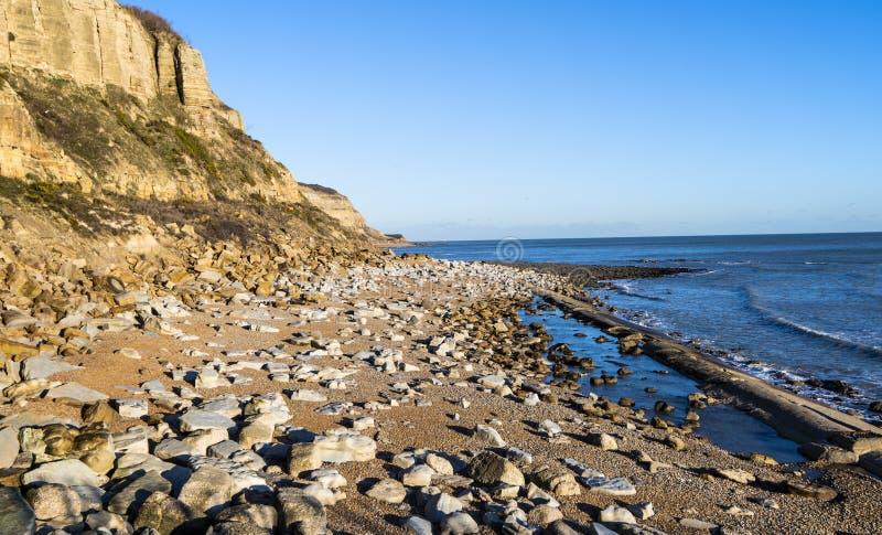 Crtaceous在海斯廷斯的砂岩峭壁在东萨塞克斯郡,英国 库存图片