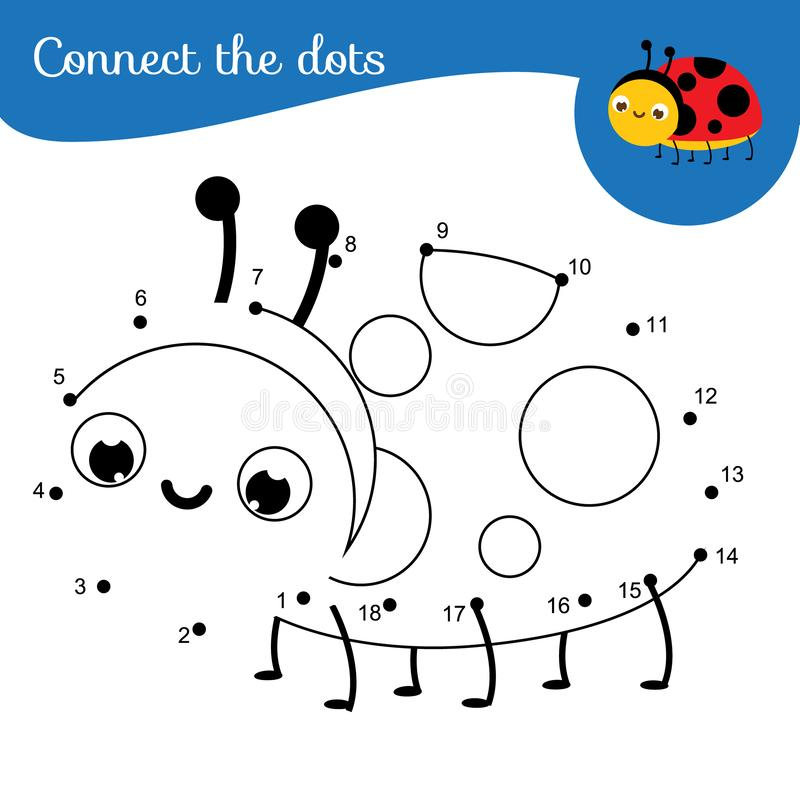 Crtoon ladybug. Connect the dots. Dot to dot by numbers activity for kids and toddlers. Children educational game vector illustration