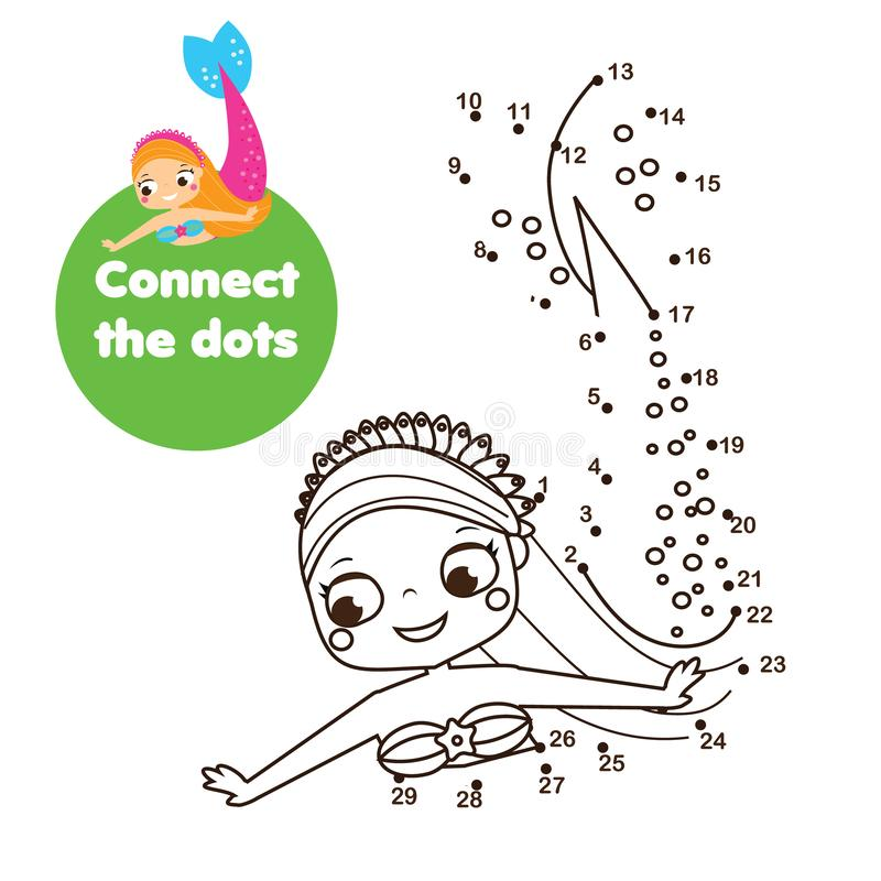 Crtoon mermaid. Connect the dots. Dot to dot by numbers activity for kids and toddlers. Children educational game stock illustration