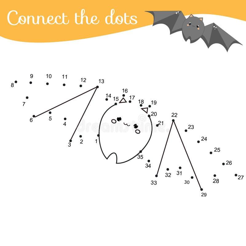 Crtoonknuppel Verbind de punten Punt door aantallenactiviteit voor jonge geitjes en peuters te stippelen Kinderen onderwijsspel stock illustratie