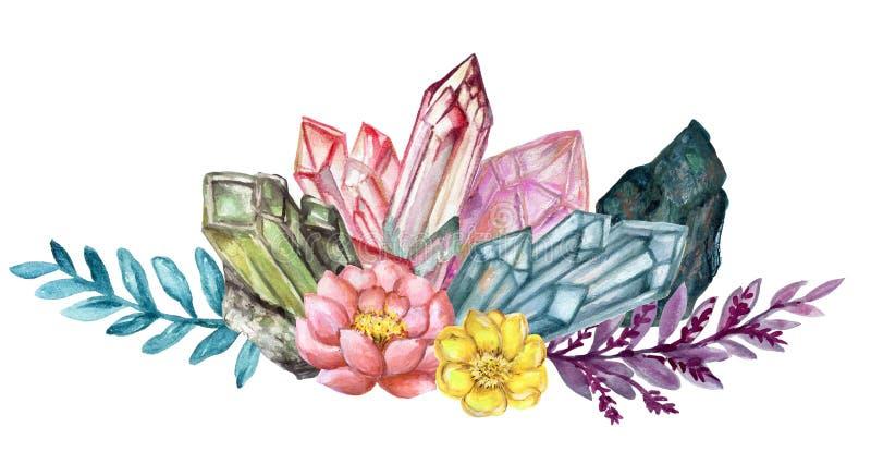 Cru élégant Crystal Stone de gouache d'aquarelle et pierres gemmes avec des succulants de fleur et guirlande de bouquet de feuill illustration de vecteur