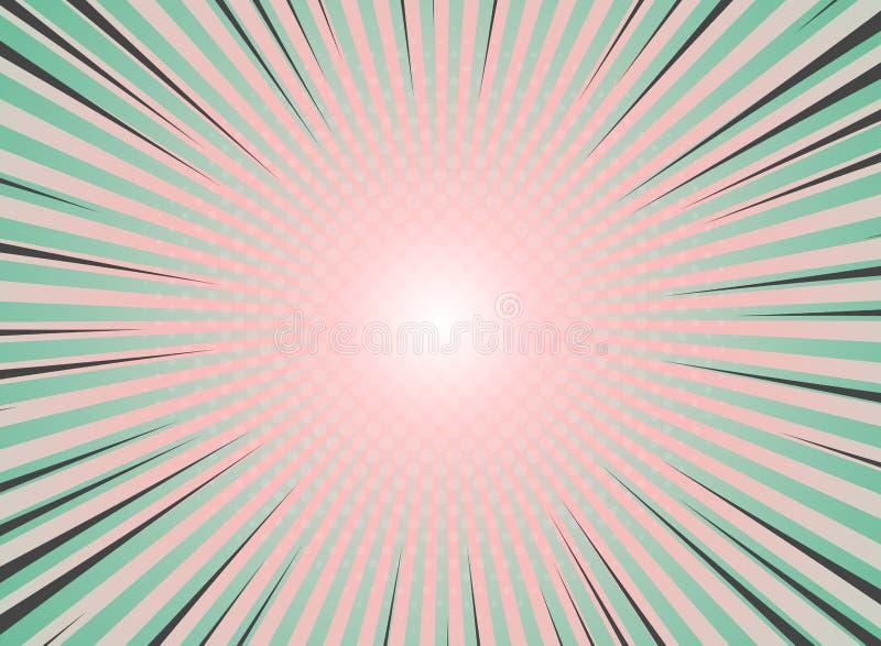 Cru abstrait de fond d'éclat du soleil de la conception tramée de modèle Couleurs de corail vertes et vivantes avec le point culm illustration stock