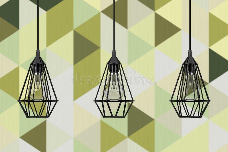 Cru allumant des lampes de plafond de décor rendu 3d illustration libre de droits